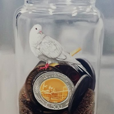 [A0041-0078] Coins in the bottle- bird 12