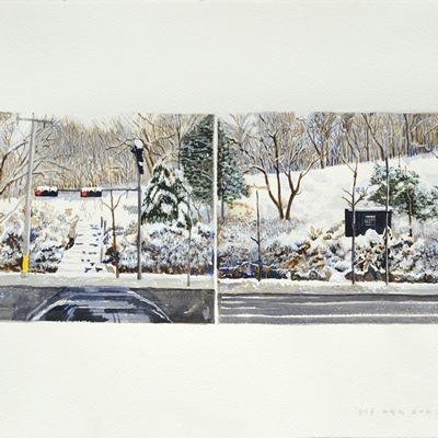 [A0080-0033] 눈이 온 차창 밖 두 개의 풍경