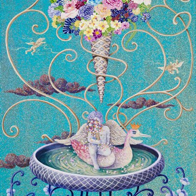 [A0081-0024] 꽃다발 뒤에 숨은 아기 천사