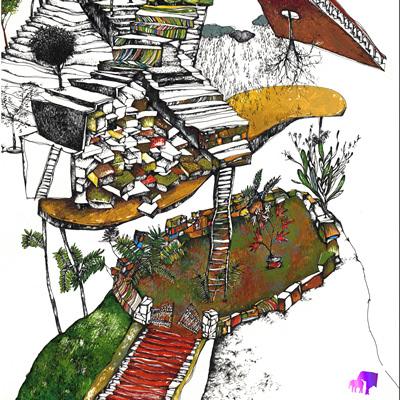 [A0087-0010] 계단이 있는 풍경(2)