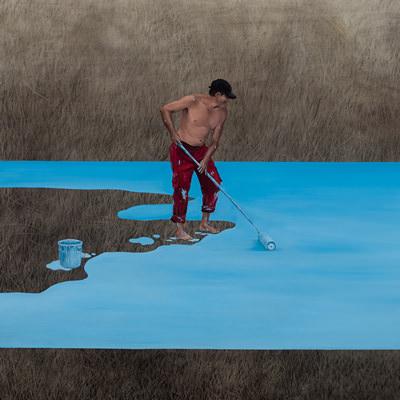[A0140-0006] 수영장을 칠하는 사람 Painting a Pool