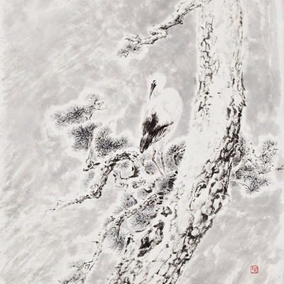 [A0210-0004] 설송(雪松)과 황새(白鸛 / Pine tree and stork in the snow
