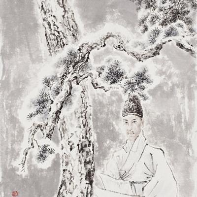 [A0210-0005] 단원 김홍도(檀園 金弘道)-설리화송(雪裏畵松) / Danwon drawing a pine tree in the falling snow