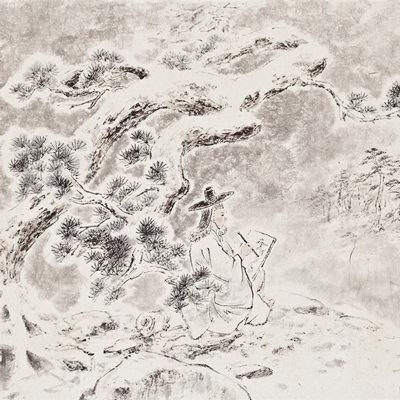 [A0210-0010] 단원 김홍도(檀園 金弘道)-설리화송(雪裏畵松) / Danwon drawing a pine tree in the falling snow
