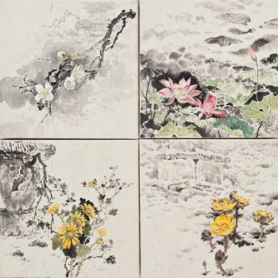 [A0210-0031] 탑의 사계(塔의 四季):: 매화(梅花), 연꽃(蓮), 국화(菊花), 복수초(福壽草) / The Four Seasons of Pagodas