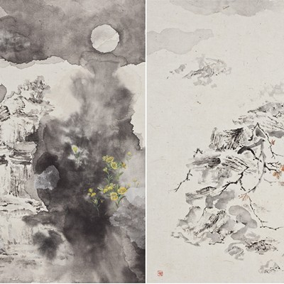 [A0210-0050] 탑의 사계(四季)_제비꽃_달맞이꽃_덩굴_동백