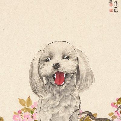 [A0215-0021] 花香遊犬(화향유견)