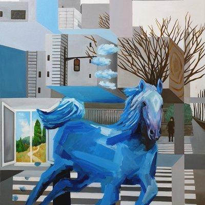 [A0254-0048] Blue Horse