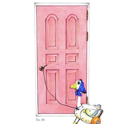[A0257-0047] 분홍색 문과 오리인형