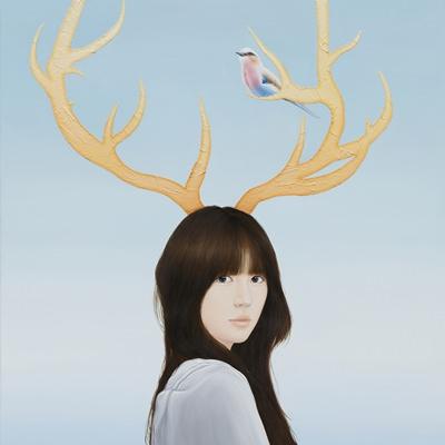 [A0257-0052] 사슴소녀와 새