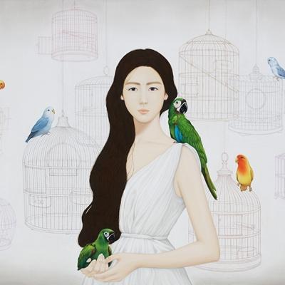 [A0257-0054] 소녀와 앵무새들