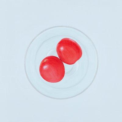 [A0275-0068] 세 개의 원 14 (두 개의 토마토와 와인잔)