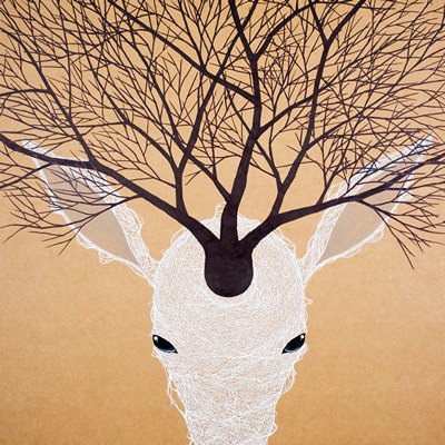 [A0294-0016] WHITE DEER-PROTECTIVE COLORING(White)