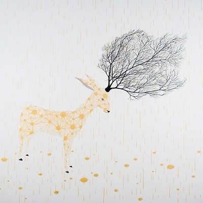 [A0294-0017] WHITE DEER-PROTECTIVE COLORING_Gold rain