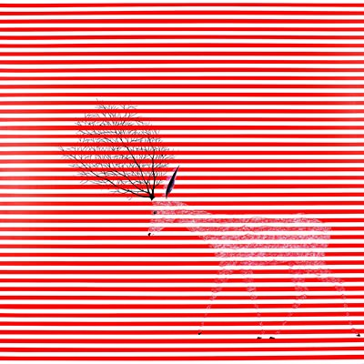 [A0294-0019] WHITE DEER-PROTECTIVE COLORING_Red Stripe