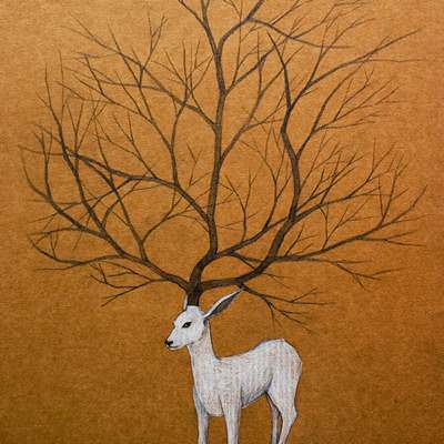 [A0294-0036] Drawing-White deer(1)