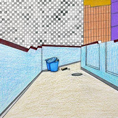 [A0298-0008] 하늘색 골목