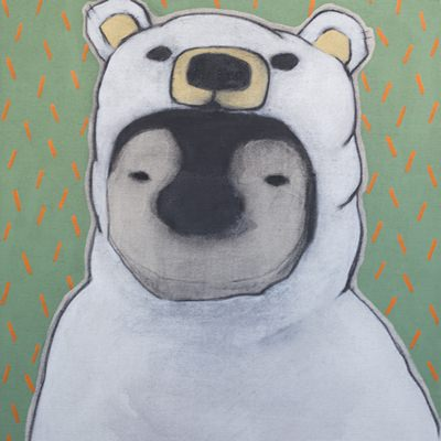 [A0321-0030] 백곰옷 입은 펭귄