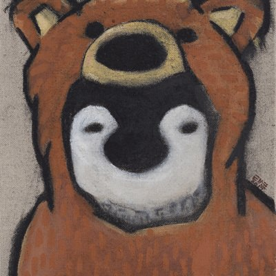 [A0321-0034] 붉은곰옷 입은 펭귄