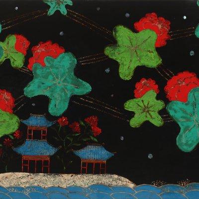 [A0393-0001] 무릉도원-목단 꽃구름
