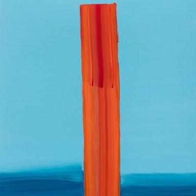 [A0396-0025] Orange Stroke on the Light Blue