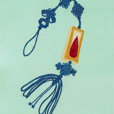 [A0397-0008] 후렌치 파이 낙지발 노리개 (행복한 과자)-blue
