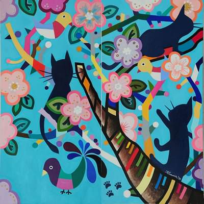 [A0442-0005] 매화나무와 새, 그리고 고양이 그림자
