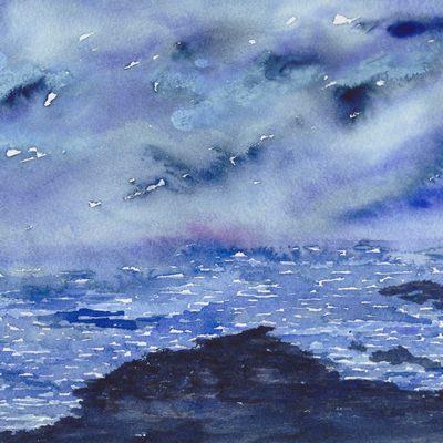 [A0451-0031] 하늘, 바다 드로잉