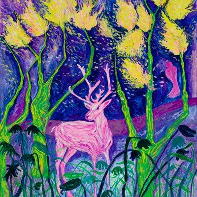 [A0451-0047] 푸른 숲, 붉은 사슴