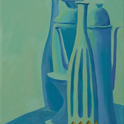[A0464-0026] Still life in Emerald and Blue