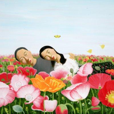 [A0536-0001] 꽃밭에서