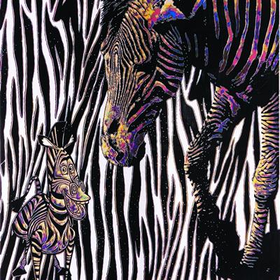 [A0549-0011] Strange Landscape-Two zebras
