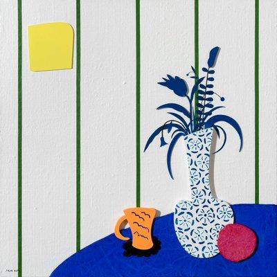 [A0552-0050] 파랑무늬의 화병과 테이블