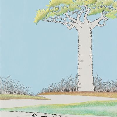 [A0558-0028] 바오밥나무와 호수...그리고 삼남매Ⅱ