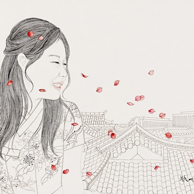 [A0576-0022] 북촌에 꽃비가 내리다