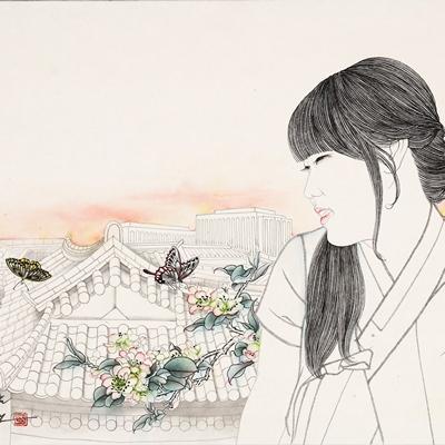 [A0576-0023] 노을진 북촌의 봄 날