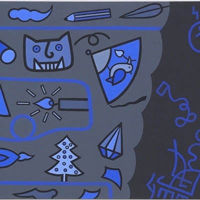 [A0584-0024] 푸른선과 푸른문자