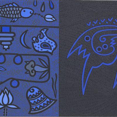 [A0584-0025] 검은 선과 푸른 선