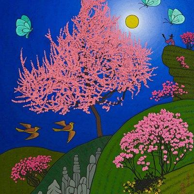 [A0584-0097] 큰매화나무가 보이는 풍경