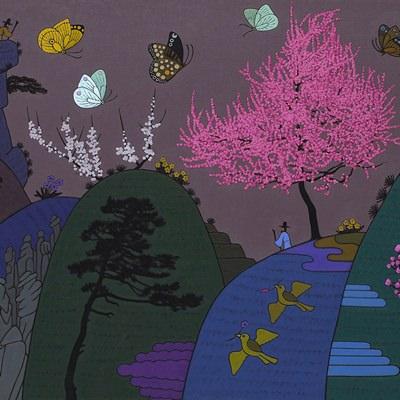 [A0584-0151] 큰 매화나무가 보이는 풍경