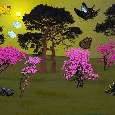 [A0584-0159] 소나무와 진달래꽃