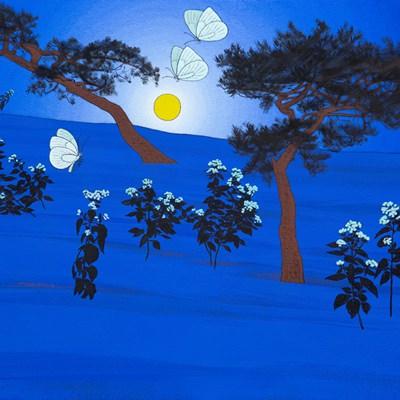 [A0584-0167] 보름달과 야생화
