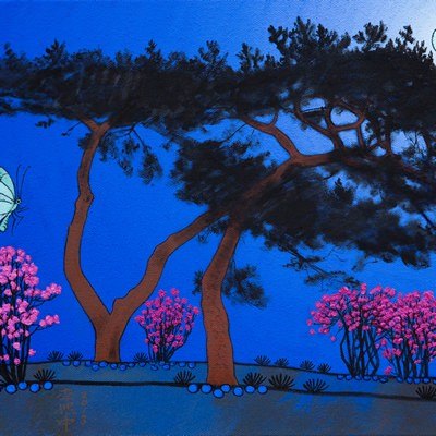 [A0584-0179] 큰소나무가 보이는 풍경