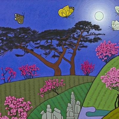 [A0584-0182] 큰소나무가 보이는 풍경