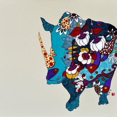 [A0677-0038] 미를 찾는 코뿔소