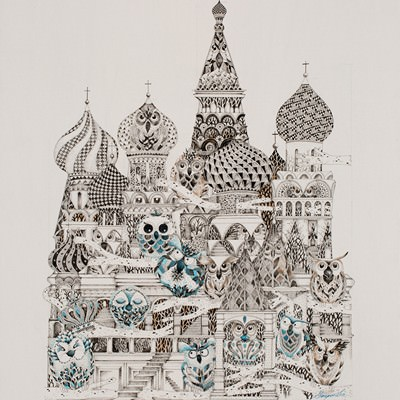 [A0715-0003] Mono owls of  Basil's Cathedral