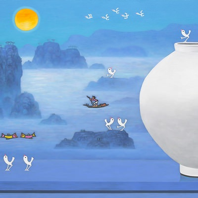 [A0763-0021] 달항아리가 있는 풍경