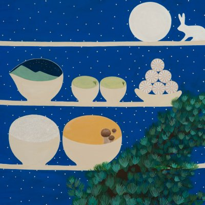 [A0771-0057] 보름달과 소나무