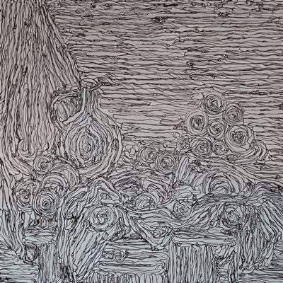 [A0778-0002] stilleben,draperie,Krug and obstschale