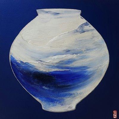 [A0848-0060] 블루-달항아리